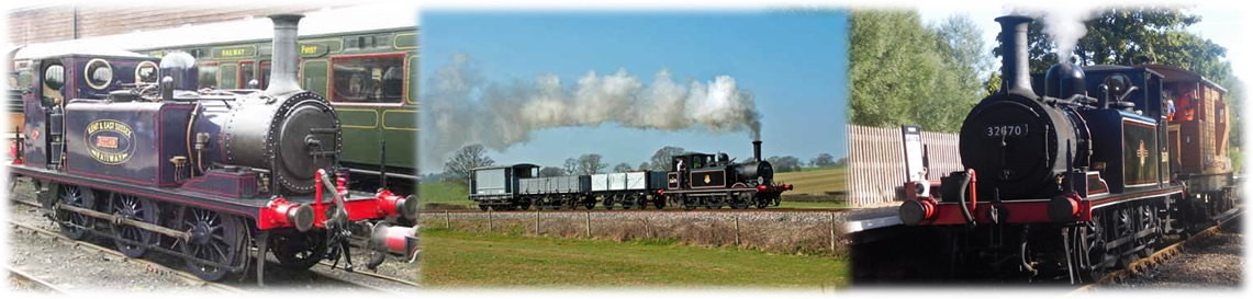 An immaculate No 3 Bodiam at Tenterden Town Station at the start of the All Terriers Great & Small Gala on 6 May 2006. © Ralph Tilley; A timeless scene as 32678 heads a short goods train round Orpin's Curve en route from Rolvenden to Tenterden Town on 24 March 2012. © David Haggar; A bucolic scene as 32670 sets off from Wittersham Road with a single brake van in tow to convey the Forestry & Conservation gang to their worksite at Rother Bridge. Autumn 2016 © Neil Instrall